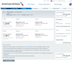 DC to Nashville: American Airlines Booking Page