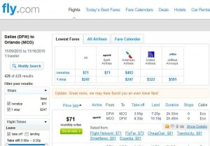 Dallas-Orlando: Fly.com Search Results