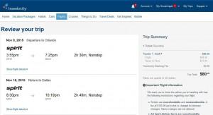 Dallas-Orlando: Travelocity Booking Page