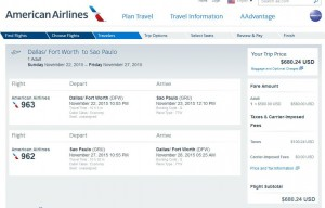 Dallas-Sao Paulo: American Airlines Booking Page