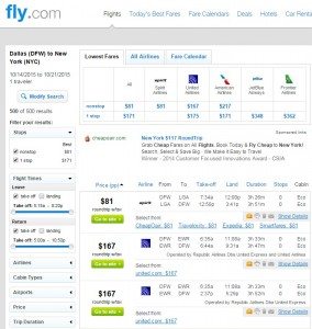 Dallas to New York City: Fly.com Results