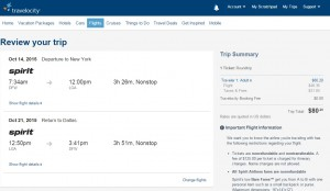 Dallas to New York City: Travelocity Booking Page