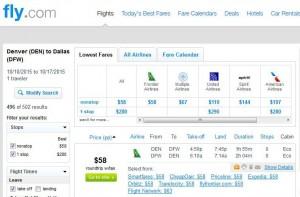 Denver-Dallas: Fly.com Search Results