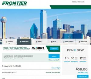 Denver-Dallas: Frontier Booking Page