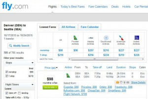 Denver-Seattle: Fly.com Search Results