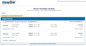Denver to Cancun: CheapOair Booking Page