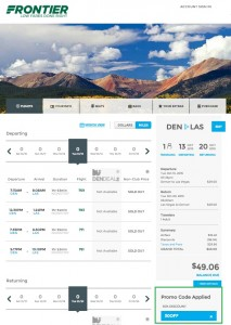 Denver to Las Vegas: Frontier Booking Page