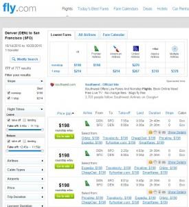 Denver to San Francisco: Fly.com Results