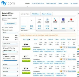 Detroit-Cancun: Fly.com Search Results