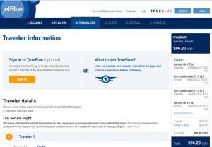 Detroit-Fort Lauderdale: jetBlue Booking Page