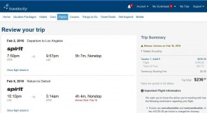 Detroit-Los Angeles: Travelocity Booking Page