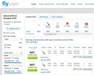 Detroit-Shanghai: Fly.com Search Results