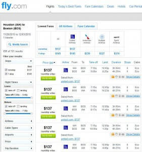 Houston-Boston: Fly.com Search Results