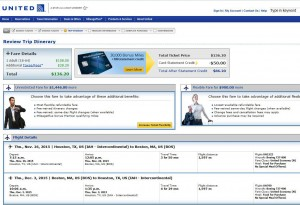 Houston-Boston: United Airlines Booking Page