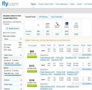 Houston-Fort Lauderdale: Fly.com Search Results