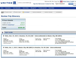 Houston-Mexico City: United Booking Page