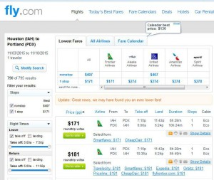 Houston-Portland: Fly.com Search Results