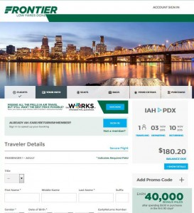 Houston-Portland: Frontier Booking Page