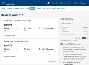 Houston-San Diego: Travelocity Booking Page