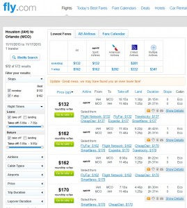 Houston to Orlando: Fly.com Results