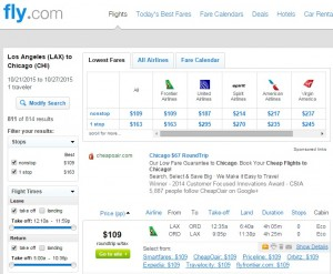 LA to Chicago: Fly.com Results