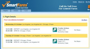 LA to Chicago: SmartFares Booking Page