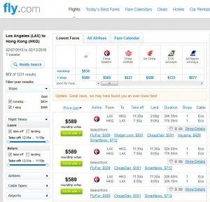 Los Angeles-Hong Kong: Fly.com Search Results