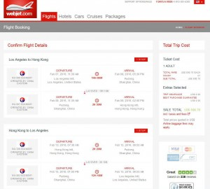 Los Angeles-Hong Kong: webjet Booking Page