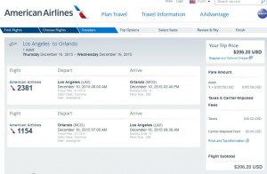 Los Angeles-Orlando: American Airlines Booking Page