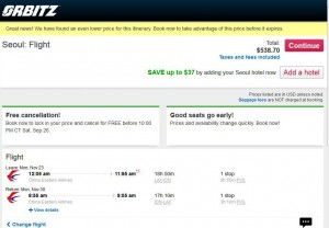 Los Angeles-Seoul: Orbitz Booking Page