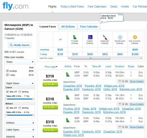 Minneapolis-Cancun: Fly.com Search Results
