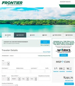 Minneapolis-Cancun: Frontier Booking Page