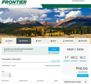 Minneapolis-Denver: Frontier Booking Page
