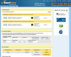 Minneapolis-Las Vegas: SmartFares Booking Page