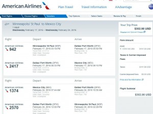 Minneapolis-Mexico City: American Airlines Booking Page
