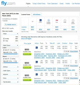 NYC-Sao Paulo: Fly.com Search Results