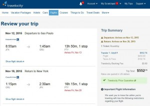 NYC-Sao Paulo: Travelocity Booking Page