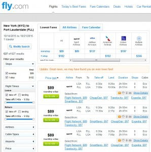 NYC to Fort Lauderdale: Fly.com Rresults