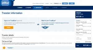 NYC to Puerto Rico: JetBlue Booking Page