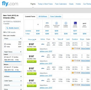 New York City to Orlando: Fly.com Results