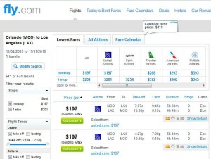 Orlando-Los Angeles: Fly.com Search Results