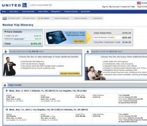 Orlando-Los Angeles: United Airlines Booking Page