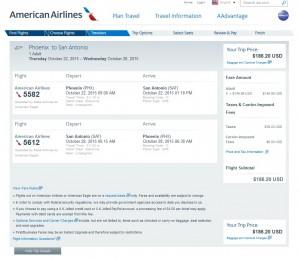 Phoenix to San Antonio: AA Booking Page