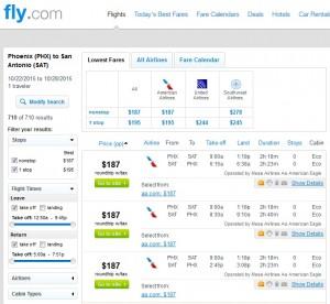 Phoenix to San Antonio: Fly.com Results