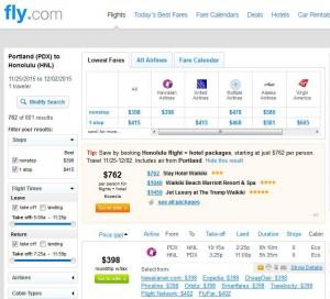 Portland-Honolulu: Fly.com Search Results