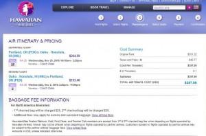 Portland-Honolulu: Hawaiian Airlines Booking Page