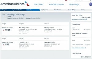 San Diego-Chicago: American Airlines Booking Page