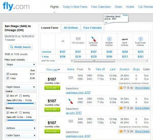 San Diego-Chicago: Fly.com Search Results