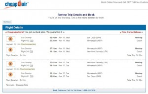 San Diego to NYC: CheapOair Booking Page