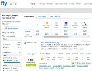 San Diego to NYC: Fly.com Results